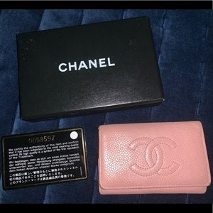 Auth Chanel Pink Caviar Leather 6 Keychain Holder